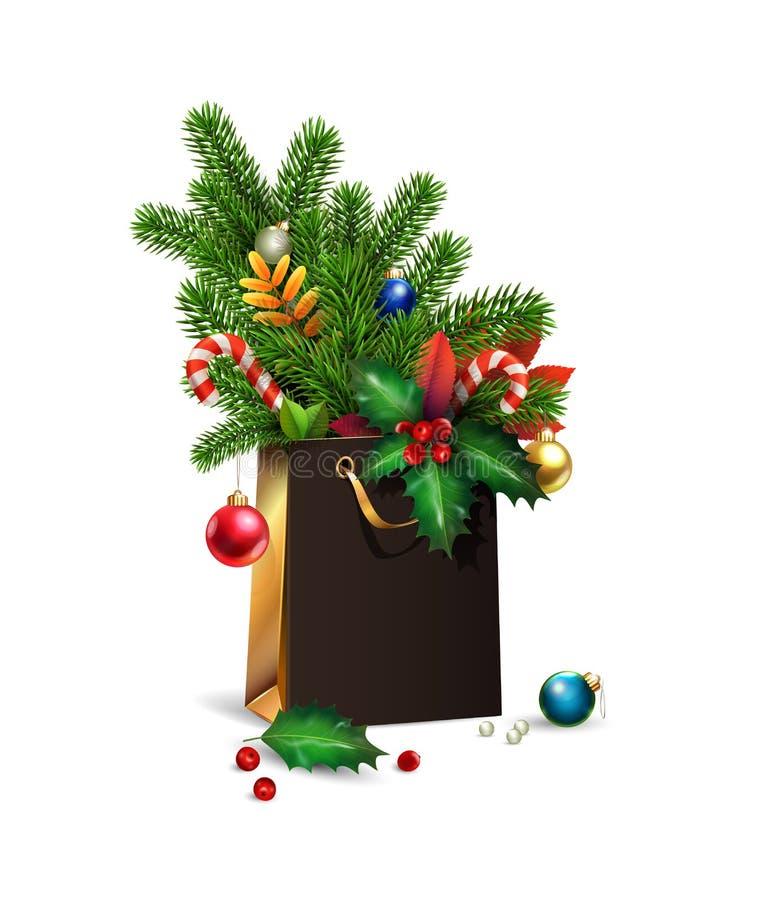 Nuovo anno di vettore, illustrazione di Buon Natale sacchetto della spesa del nero 3d, decorazioni dell'abete rosso, rami dell'ab illustrazione di stock