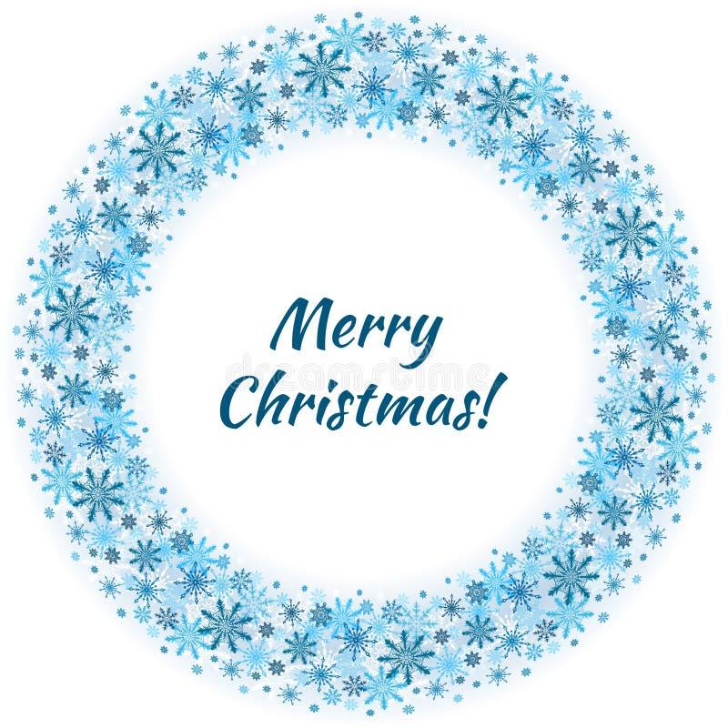 Nuovo anno e Buon Natale intorno ai fiocchi di neve di vettore del confine di inverno dell'insegna o della cartolina su fondo leg illustrazione vettoriale