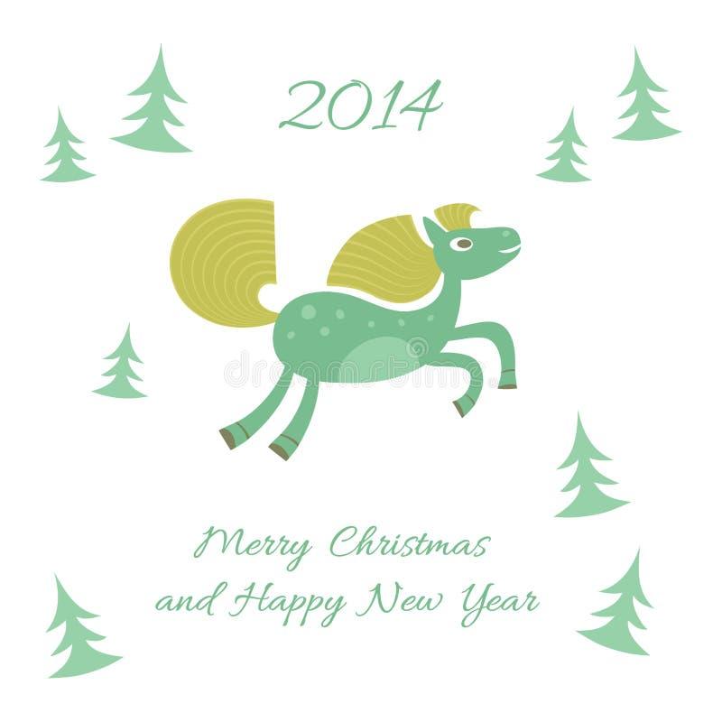 Nuovo anno e cartolina di Natale con un cavallo illustrazione vettoriale