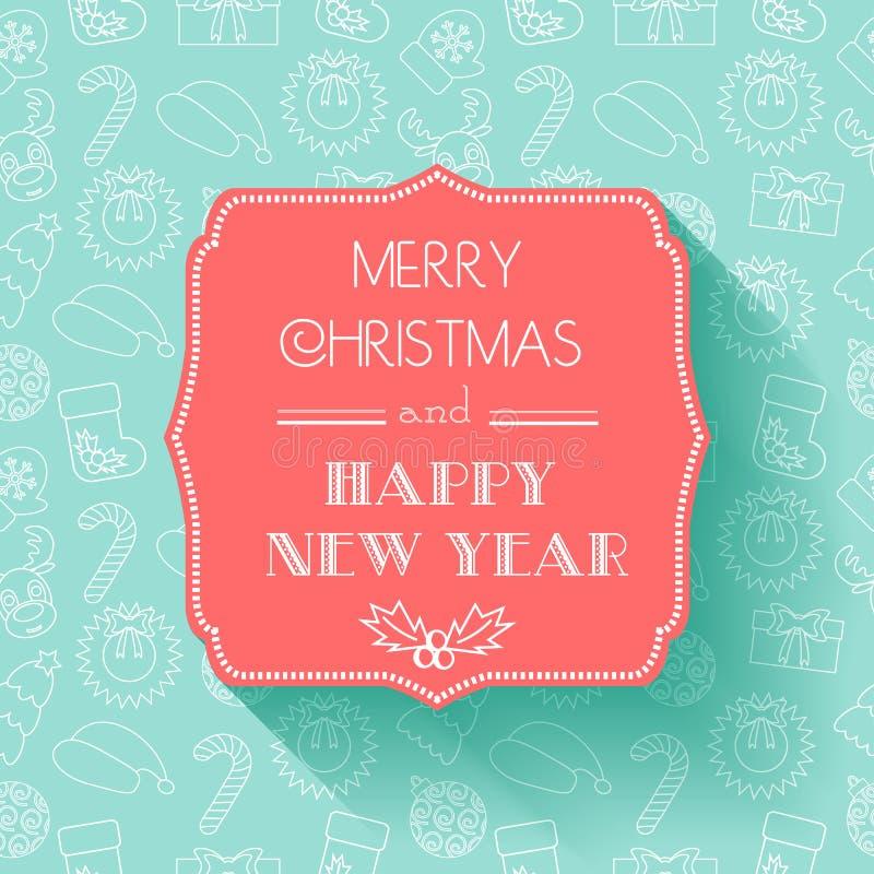 Nuovo anno e cartolina di Natale Progettazione piana Fondo senza cuciture tipografia Ombra royalty illustrazione gratis