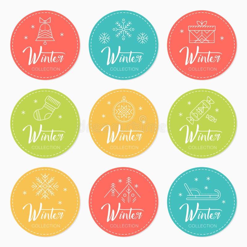 Nuovo anno e Natale che accolgono i distintivi con i simboli di festa illustrazione vettoriale