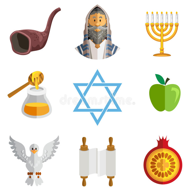 Nuovo anno ebreo Yom Kippur Icons di Rosh Hashana illustrazione vettoriale