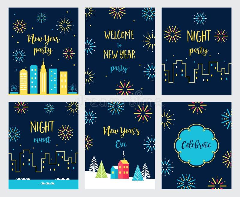 Nuovo anno Eve Fireworks Celebration Carte ed inviti messi Disegno di vettore royalty illustrazione gratis