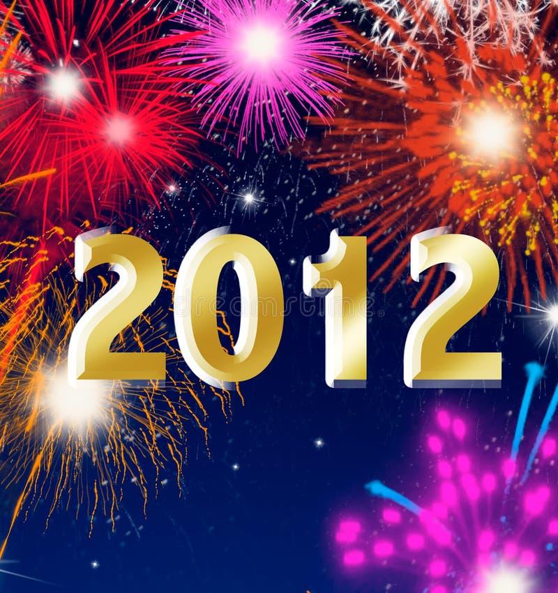 Nuovo anno felice 2012 con i fuochi d'artificio illustrazione vettoriale