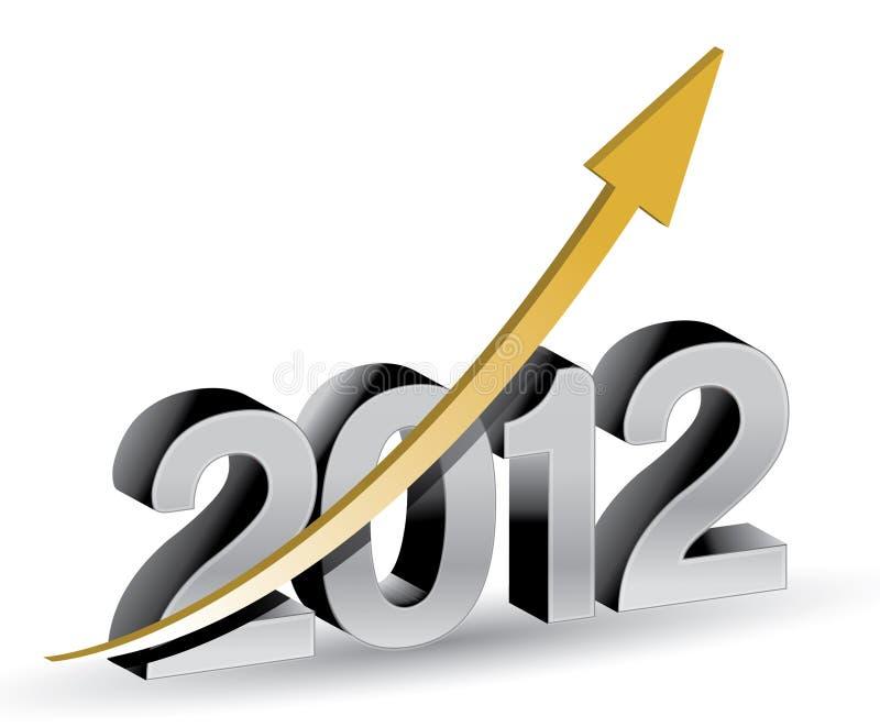 Nuovo anno felice 2012 con il grafico aumentante illustrazione di stock