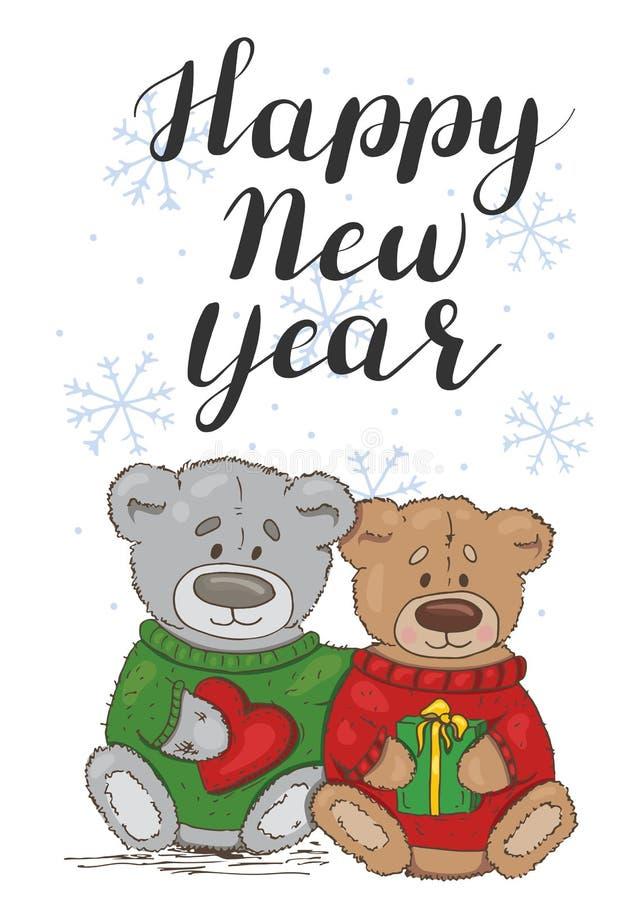 Nuovo anno felice Carta festiva con orsacchiotti illustrazione vettoriale