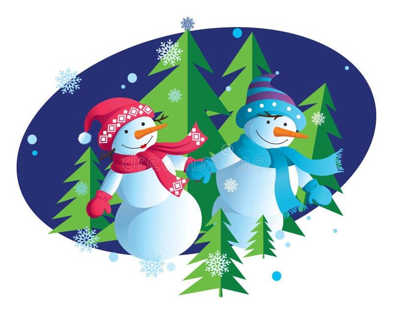 Nuovo anno felice con i pupazzi di neve illustrazione vettoriale