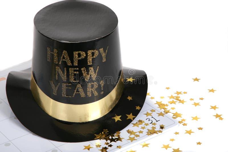 Nuovo anno felice con le stelle dell'oro e del calendario fotografia stock