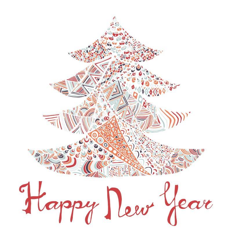 Nuovo anno felice e cartolina di Natale allegra illustrazione di stock