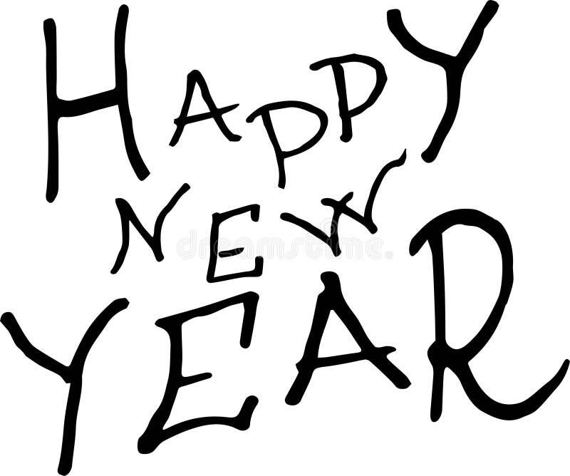 Nuovo anno felice Illustrazione di festa con la composizione nell'iscrizione royalty illustrazione gratis