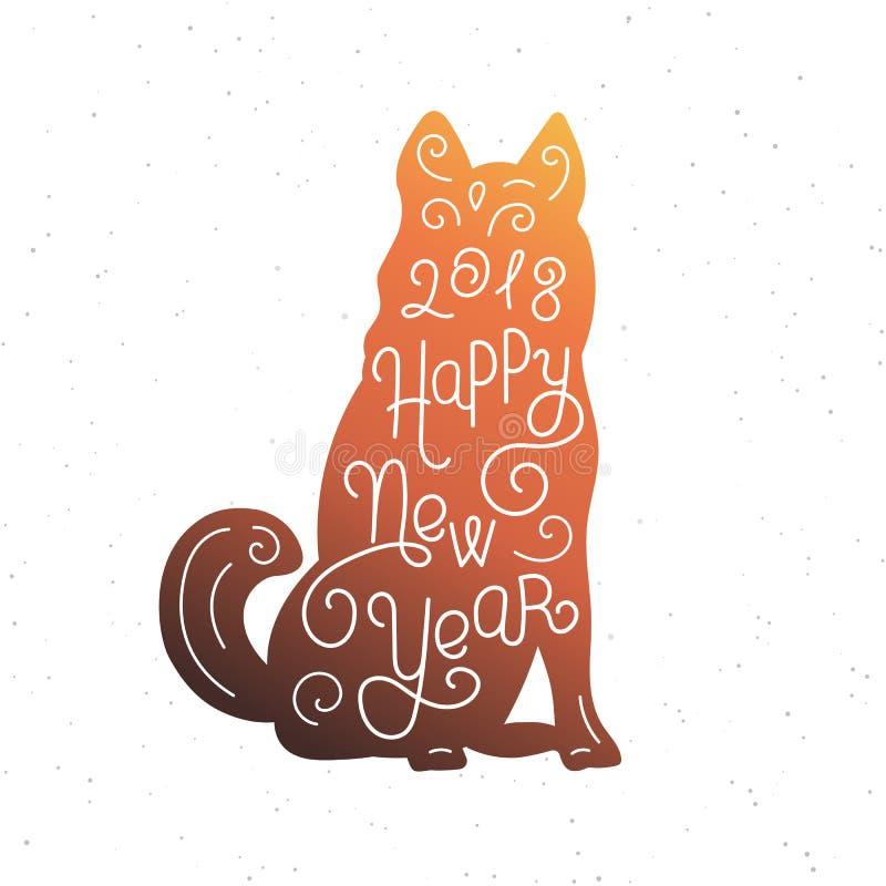 Nuovo anno felice Iscrizione della mano della siluetta Un simbolo cinese del calendario di 2018 anni Cane di Brown Progettazione  illustrazione di stock