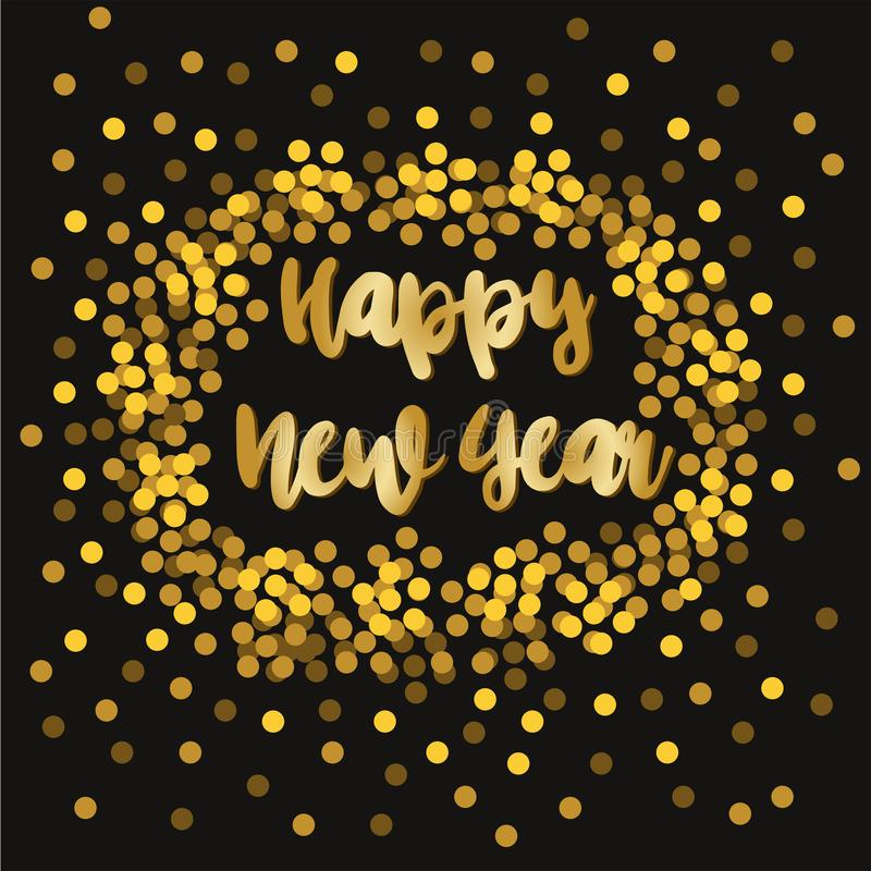 Nuovo anno felice Vettore di festa che segna illustrazione con lettere illustrazione di stock