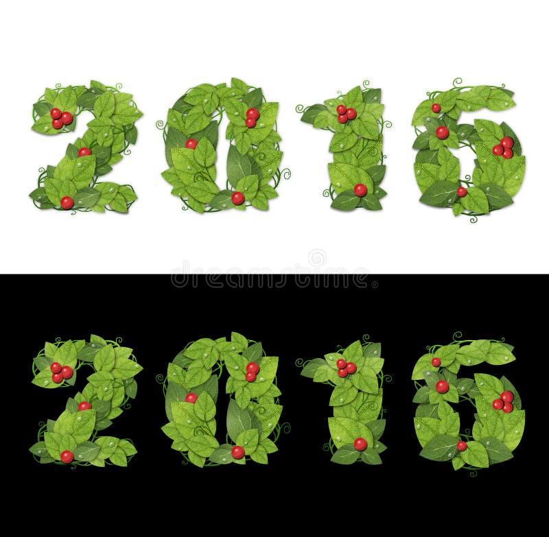 Nuovo anno 2016 Foglie verdi allineate data con le gocce di rugiada fotografia stock