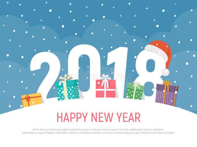 Nuovo anno 2018 Fondo di inverno di festa con i contenitori di regali Illustrazione di vettore di Natale nello stile piano illustrazione vettoriale
