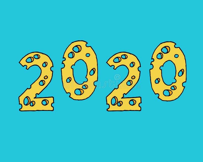 Nuovo anno 2020 illustrazione vettoriale