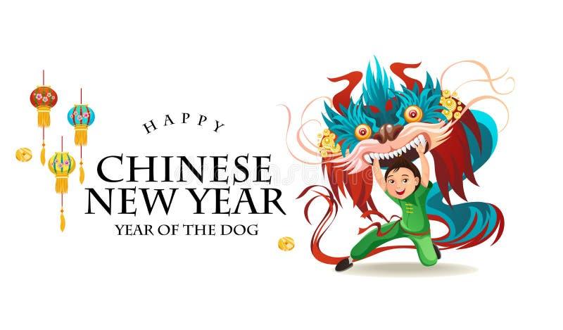 Nuovo anno lunare cinese Lion Dance Fight isolato su fondo bianco, ballerino felice nella tenuta tradizionale del costume della p illustrazione vettoriale