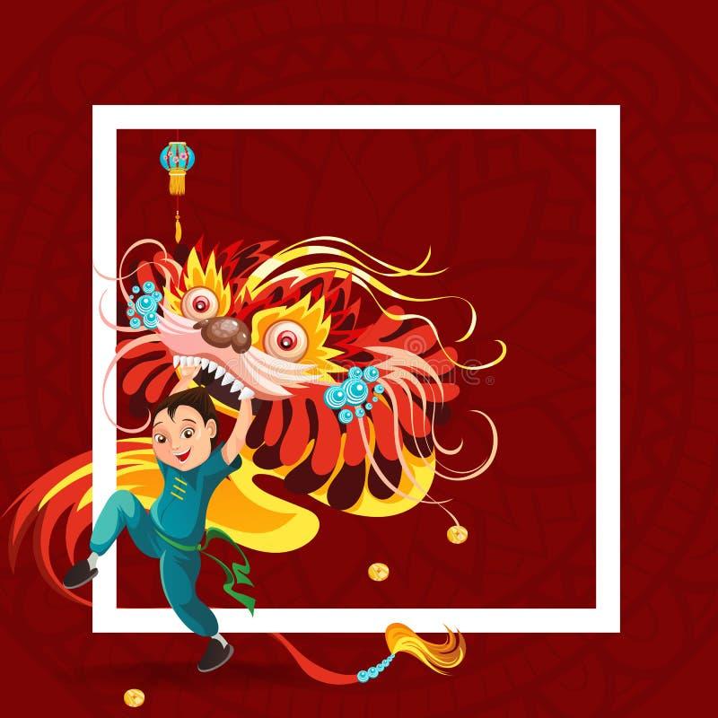 Nuovo anno lunare cinese Lion Dance Fight isolato su fondo rosso, ballerino felice nella tenuta tradizionale del costume della po illustrazione vettoriale