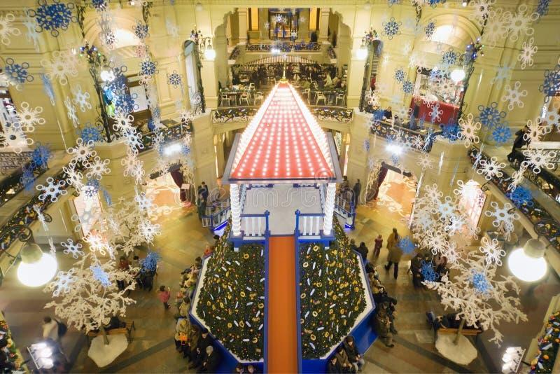 Nuovo anno a Mosca. Casa di commercio della GOMMA immagini stock libere da diritti
