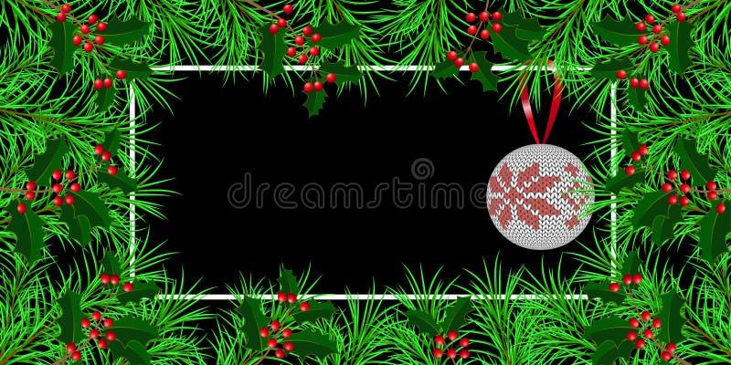 Nuovo anno, Natale, vacanze invernali Insegna, invito, aletta di filatoio Pagina fatta dei rami dell'agrifoglio e dell'abete Pall royalty illustrazione gratis