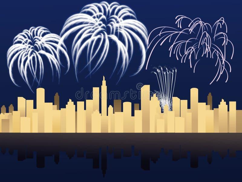 Nuovo anno nella città royalty illustrazione gratis