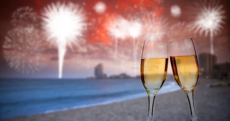 Nuovo anno nella città, alla spiaggia immagine stock libera da diritti