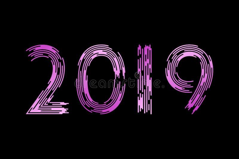 Nuovo anno, numeri 2019 Spazzola alla moda Nella tendenza Pendenza viola su un fondo nero royalty illustrazione gratis