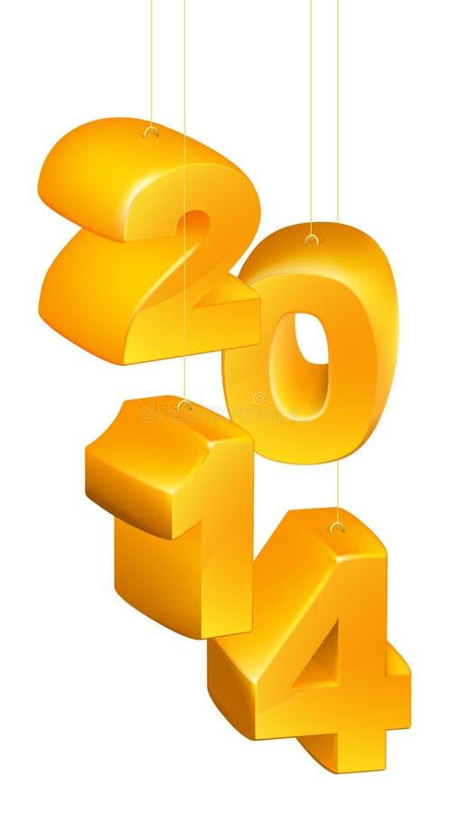 Nuovo anno o Natale 2014 ornamenti illustrazione di stock