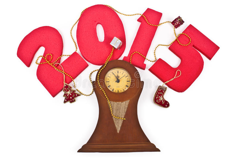 Nuovo anno 2015, orologio fotografie stock
