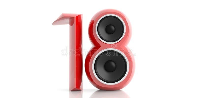 Nuovo anno 2018 Rosso 18 con due altoparlanti isolati su fondo bianco illustrazione 3D illustrazione vettoriale