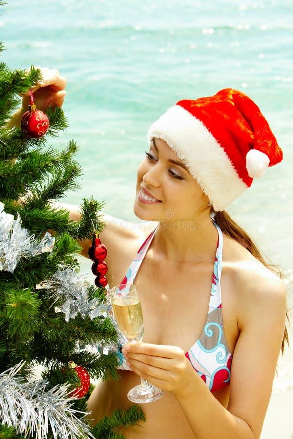 Nuovo anno sulla spiaggia immagine stock