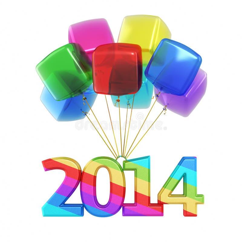 Nuovo anno variopinto 2014 dei palloni dei cubi royalty illustrazione gratis