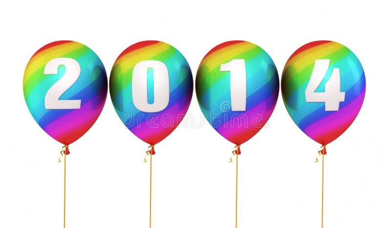 Nuovo anno variopinto 2014 di pendenza illustrazione vettoriale