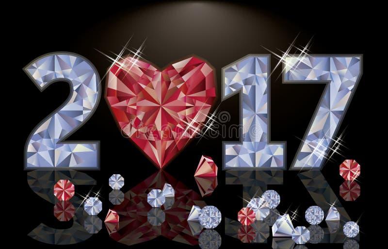 Nuovo anno vermiglio 2017, vettore del diamante e del cuore illustrazione di stock