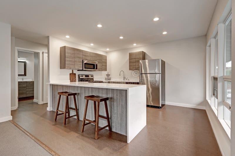 Nuovo appartamento moderno con la cucina grigia fotografie stock libere da diritti