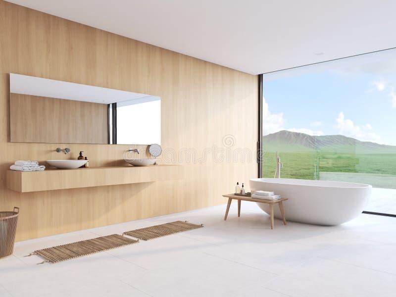 Nuovo bagno moderno con una vista piacevole rappresentazione 3d fotografia stock