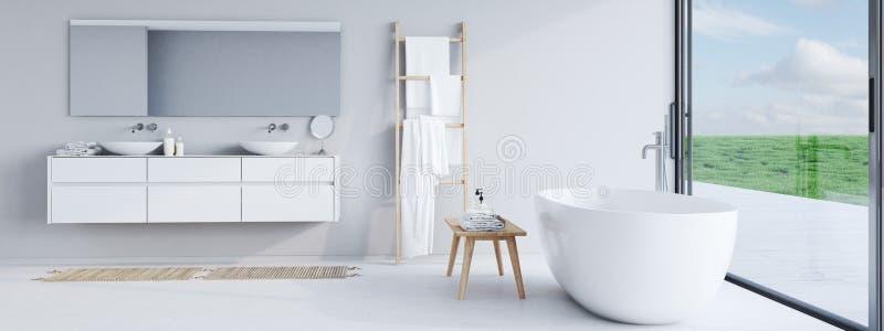 Nuovo bagno moderno con una vista piacevole rappresentazione 3d immagini stock