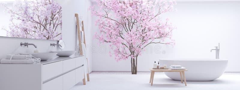 Nuovo bagno moderno di zen con la parete bianca rappresentazione 3d fotografia stock libera da diritti