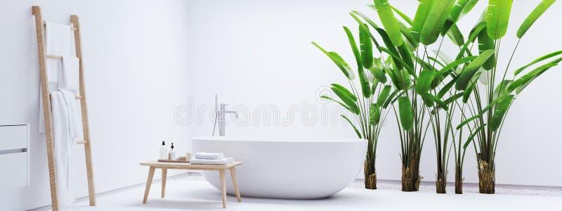 Nuovo bagno moderno di zen con le piante tropicali rappresentazione 3d immagine stock