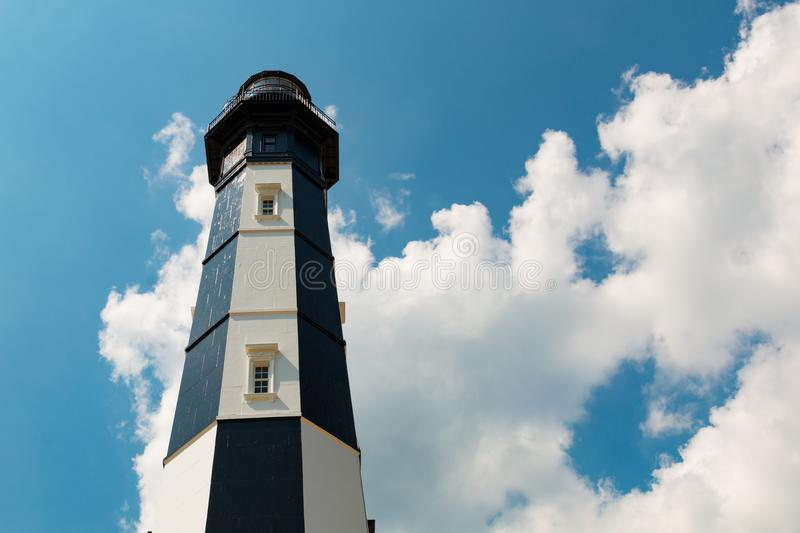Nuovo capo Henry Lighthouse With Cloudy Sky in Virginia Beach fotografia stock
