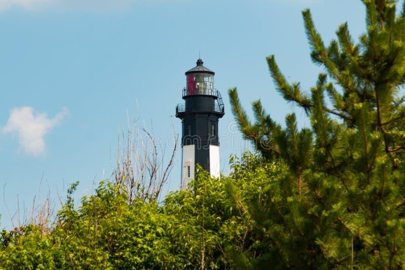 Nuovo capo Henry Lighthouse con gli alberi in Virginia Beach immagini stock