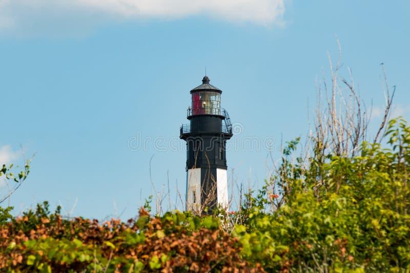 Nuovo capo Henry Lighthouse sulla base militare forte di storia immagine stock libera da diritti