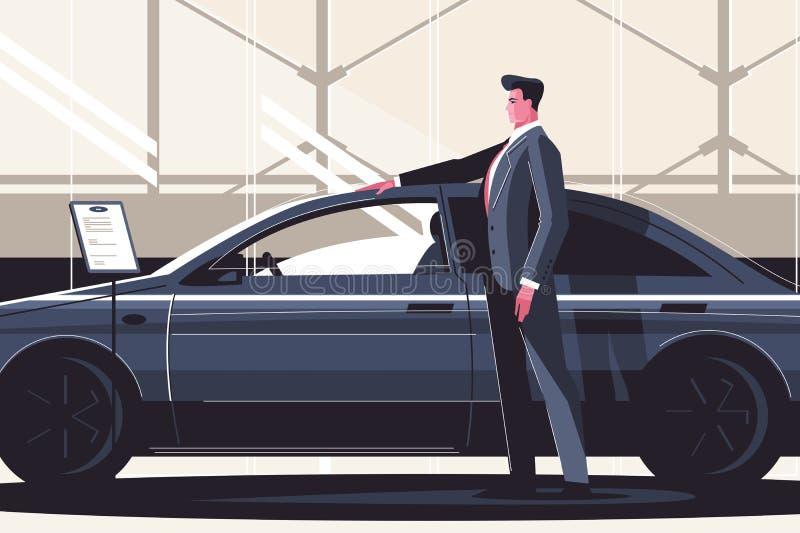 Nuovo centro di vendita dell'automobile illustrazione di stock
