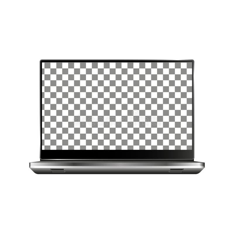 Nuovo computer portatile anteriore e vettore nero che disegna formato eps10 isolato su fondo bianco illustrazione vettoriale