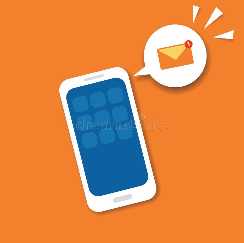 Nuovo concetto di notifica e-mail sullo schermo dello smartphone Illustrazione di vettore in piano Ricordo del messaggio dell'ico illustrazione vettoriale