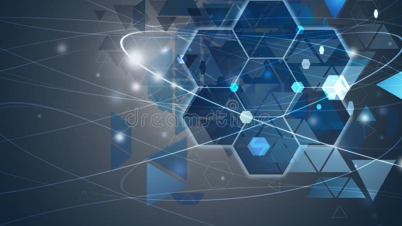 Nuovo concetto futuro del fondo di concetto di tecnologia per il blu della soluzione di affari illustrazione di stock