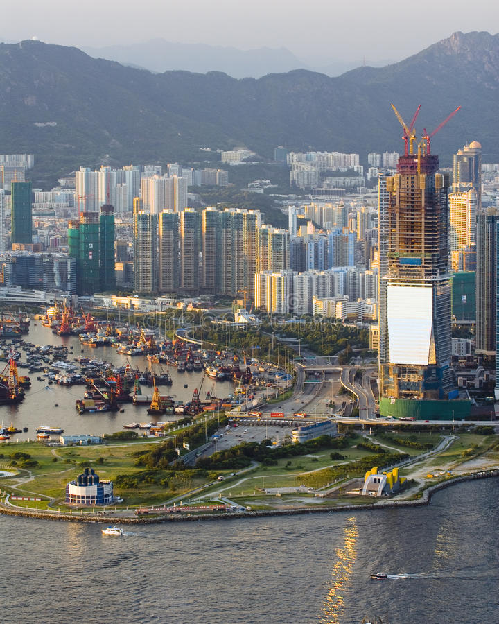 Nuovo distretto di sviluppo al lato del porto della Victoria fotografia stock