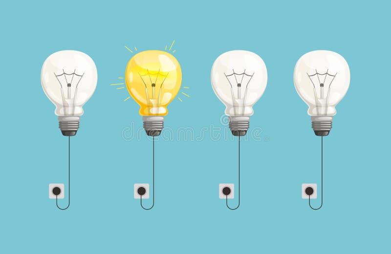 Nuovo fondo di vettore di idea Illustrazione leggera delle lampadine illustrazione vettoriale