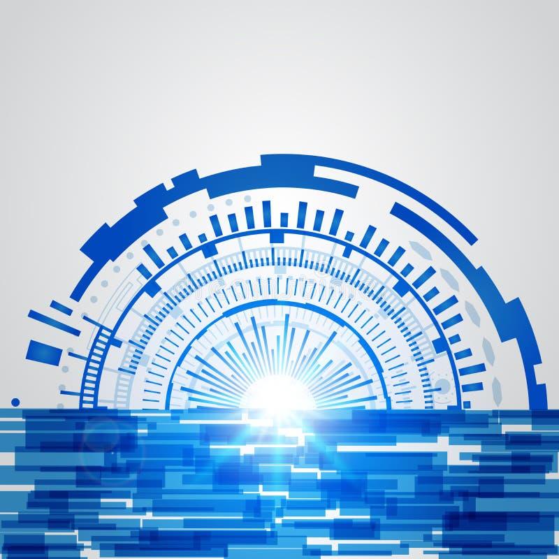 Nuovo fondo futuro di concetto di tecnologia blu astratta illustrazione vettoriale