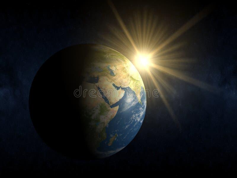 Nuovo giorno su terra - alba immagine stock