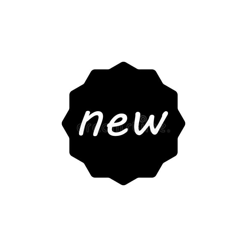 Nuovo, icona del distintivo I segni ed i simboli possono essere usati per il web, logo, app mobile, UI, UX illustrazione di stock